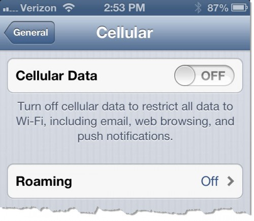 iPhone Cellular Off Setting