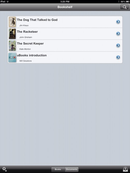 Bookshelf in uBooks xl on iPad
