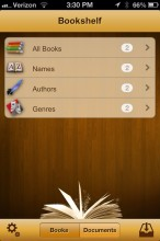 Bookshelf in uBooks xl on iPhone