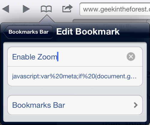 Creating a Bookmarklet to Enable Zoom