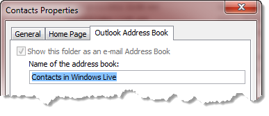 Outlook Contacts Address Book