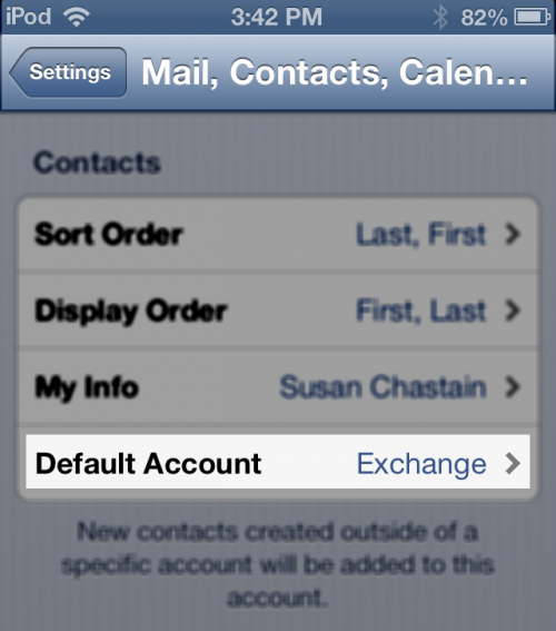 Default Account in iOS