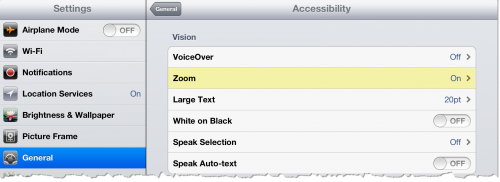 Enable Zoom in Accessibility Options