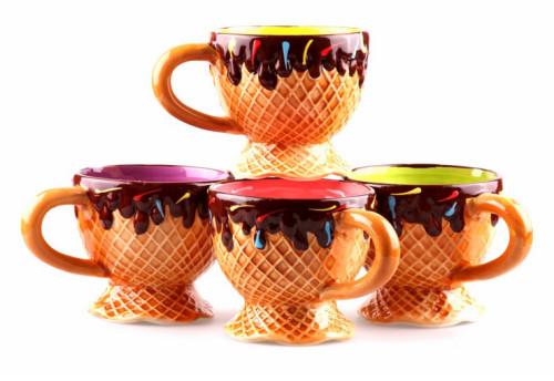 4 Ceramic Ice Cream Dessert Bowls