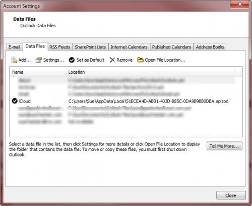 iCloud as Outlook data File