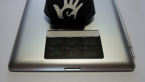 Stick the card to the back of the iPad for storage.